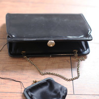 Black Patent Clutch — Bib + Tuck