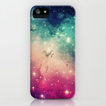 Pink Turquoise Galaxy iPhone & iPod Case by hyakume