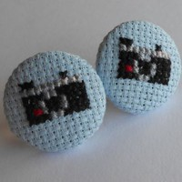 Cross Stitch Retro Instamatic Camera Earrings