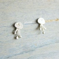 Silver Jelly Fish Ear Studs