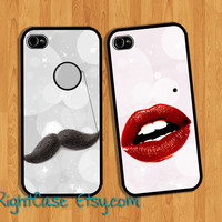 Mustache And Sexy Lip Phone Case, Couple iPhone Case, Samsung Galaxy S4, Galaxy S3, iPhone 5 5S Case, iPhone 5C Case, iPhone 4s case, Love