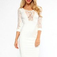Cream/Cream Lace Insert Midi Dress