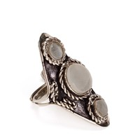 SALE-Triple Gray Stone Boho Ring