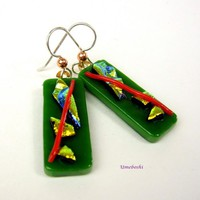 Pieces O' Gold Green Dichroic Handmade Glass Dangle Earrings