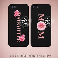 Floral Design Mom and Daughter Phone Case Set - Matching iphone 4 4S 5 5C Galaxy S3 S4 Cases -  Mother's Day Gift