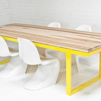 neutra solid hickory slab dining table