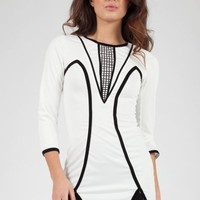 Long Sleeve White Tunic with Black Contrast