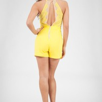 Yellow Lace Skort Playsuit