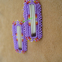 rosette beaded porcupine quill earrings in Lavender