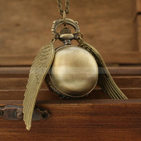 Harry potter golden snitch pocket watch necklace by luckyvicky