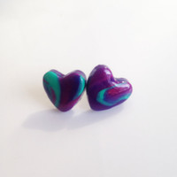 Marbled Heart Stud Earrings {Jade and Purple, Polymer Clay}