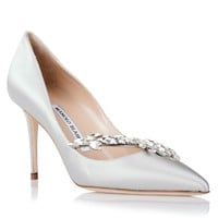 Nadira grey satin pump <strong>Manolo Blahnik</strong> - Designer Shoes at ShopSavannahs.com