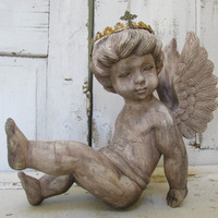 Wood carved cherub statue sculpture vintage distressed French Santos style large angel with crown made in Italy anita spero