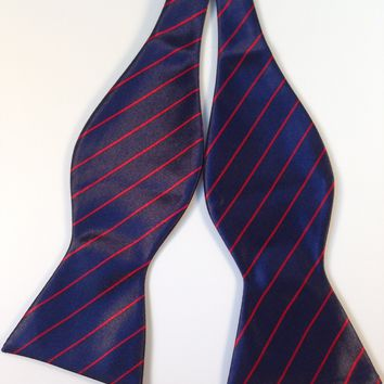 Navy Blue & Thin Red Striped Bow Tie