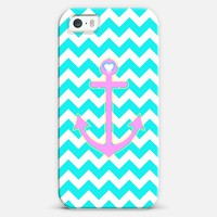 Turquoise Chevron Summer Love Anchor iPhone 5s case by Organic Saturation | Casetagram