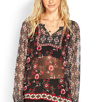 Sheer Woven Peasant Top