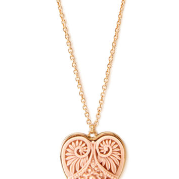 Carved Heart Pendant Necklace