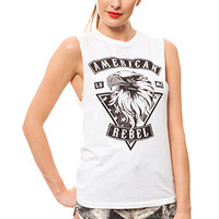 American Rebel Cotton Muscle Tee - White