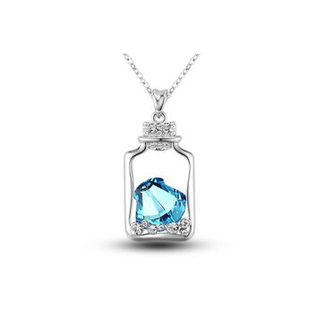 MagicPieces Women's Alloy Drift Bottle Shape Pendant with Rhinestone Inside Platium Plating Necklace Color Blue