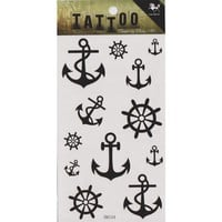 "MagicPieces Temporary Tattoo Fake Tattoo Waterproof Non-toxic Tattoo Sticker with Black Anchor and Helm Pattern Size 3.06""X5.13"""