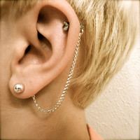Cartilage Chain on Earring Backs  Silver by PrettyKittenBoutique