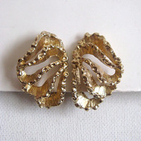 Monet Vintage 1980s Earrings Gold Tone Brutalist Clip On Earrings