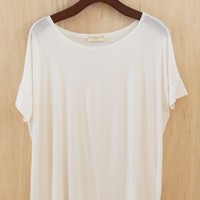 Say 'Hello!' and Never Part Oversized Tee/Tunic, Ivory