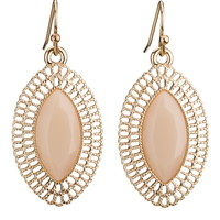 chain frame peach gem drop earrings