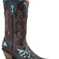 Stetson Women's Distressed Python Inlay Cowgirl Boot Pointed