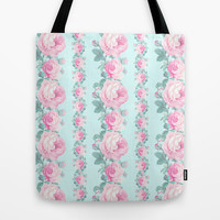 Cottage chic Roses floral pattern Tote Bag by Mercedes