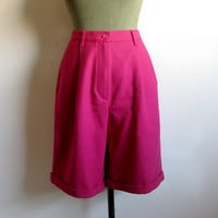 Vintage 1980s Hot Pink Shorts Funk Diva Wool Bottoms by United Colors of Benetton 44
