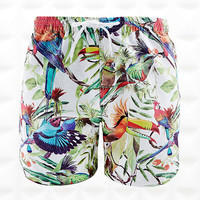 Crooked Wave Tropical Birds Swim Shorts in White - Urban Outfitters
