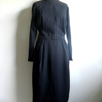 Margo Mr. Mort 1950s Dress Vintage Navy Black Mad Men Day Dress Medium