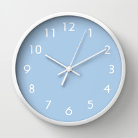 Placid Blue Wall Clock by BeautifulHomes | Society6