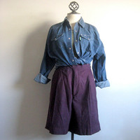 Perry Ellis Vintage 1980s Shorts Aubergine Cotton Wrap Shorts 34 Med