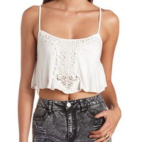 CROCHET APPLIQUE FLOUNCED SWING CROP TOP