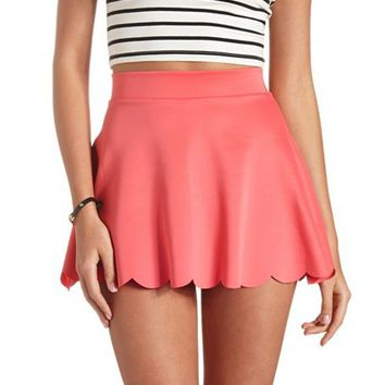 SCALLOPED HIGH-WAISTED SKATER SKIRT