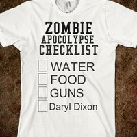 zombie apocolypse checklist - glamfoxx.com - Skreened T-shirts, Organic Shirts, Hoodies, Kids Tees, Baby One-Pieces and Tote Bags