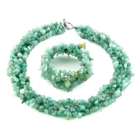 Pugster Multicolor Gemstone Chip Stone Loose Beads Strand Necklace Bracelet Set