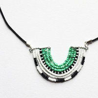 Tribal Beaded Scallop Pendant Necklace - Handmade Jewelry, Masai Inspired