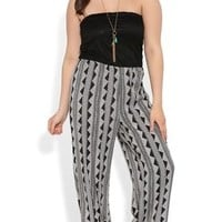 Plus Size Strapless Jumpsuit with Crochet Bodice and Tribal Print Pant