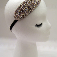 The Marjorie - pearl 1920s headpiece, Downton Abbey Lady Mary style, bridal headband pearl, champagne pearl headband, beige pearl headband