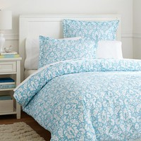 Damask Duvet Cover + Sham, Sky Blue