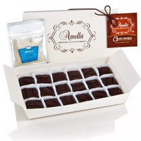 Dark Agave Caramels with French Gray Sea Salt for Dipping , 8.0 ounces French Ballotin (18 pcs)