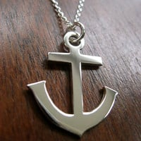 Silver Anchor Pendant Necklace  Ready to Ship by GorjessJewellery
