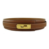 Hermes Kelly Brown Leather Belt with Gold Hardware
