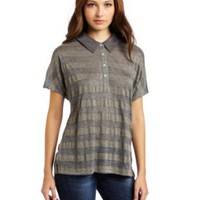 C&C California Women's Lurex Short Sleeve Polo