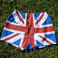$26.00 80s ROCK OF AGES Union Jack Boxer Shorts by bluebellandbonnet
