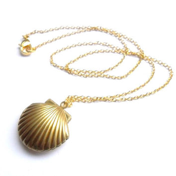 Sea Shell Locket, Mermaid Necklace, Beach Locket, Gold Tone Brass, Little Shell Locket, Nautical Jewelry, Gift Box