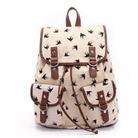 MagicPieces Women's Full Swallows Print Beige Canvas Backpack 041610
